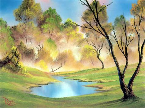 Colorful Landscape Paintings By Bob Ross From America