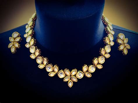 kundan classic gold plated handcrafted floral necklace