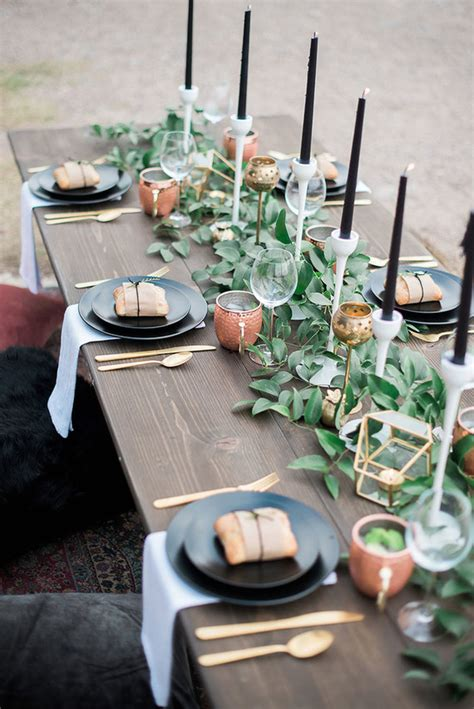 black  gold tablescape wedding party ideas