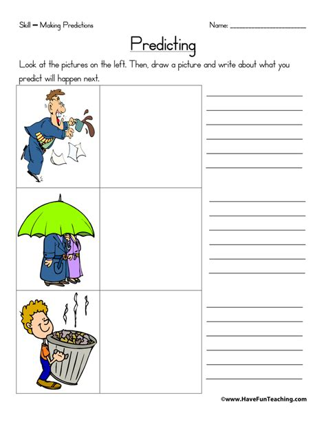 predictions worksheets teaching