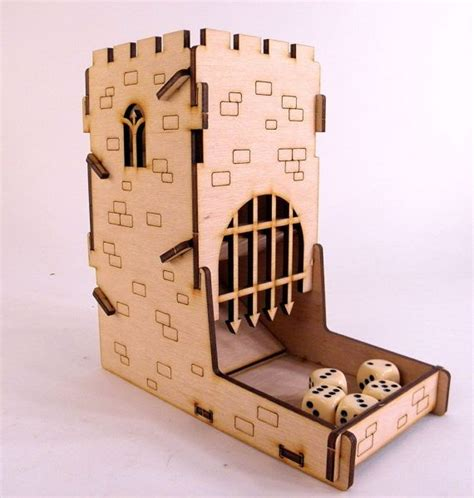 dice tower castle boardgame accessory wood dice