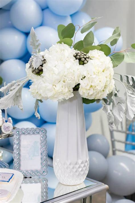 karas party ideas silver blue elephant baby shower