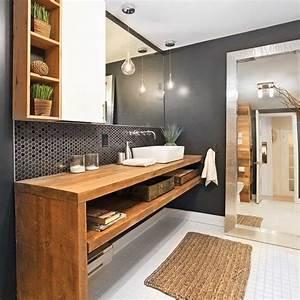 une salle de bain rustique chic salle de bain With quelle couleur marier avec le gris 4 craquez pour le gris dans la salle de bains inspiration bain
