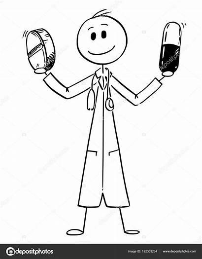 Cartoon Bedrijf Geneeskunde Arts Pillen Stockillustratie Twee
