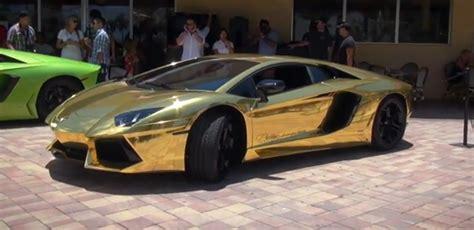 gold wrapped lamborghini aventador lp   pulled