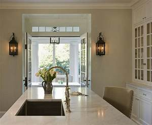 kitchen island sink transitional kitchen anne decker With kitchen colors with white cabinets with fine art wall sconces