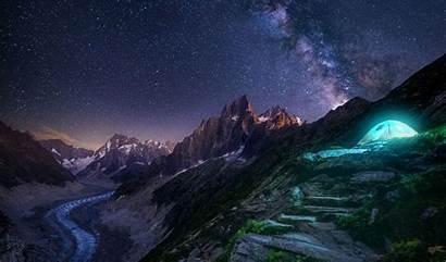 Night Starry Milky Mountains Way Snow Exposure