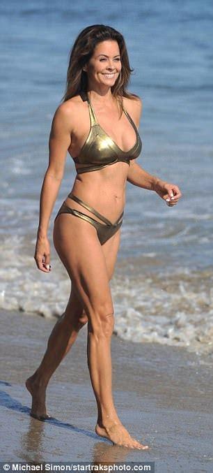 Brooke Burke-Charvet sports metallic bikini in Malibu ...