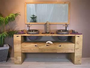 Meuble salle de bain bois double vasque carrelage salle for Salle de bain design avec meuble sous vasque bois castorama