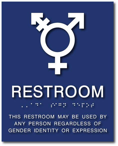 All Gender Neutral Symbol Bathroom Sign With Braille Ada