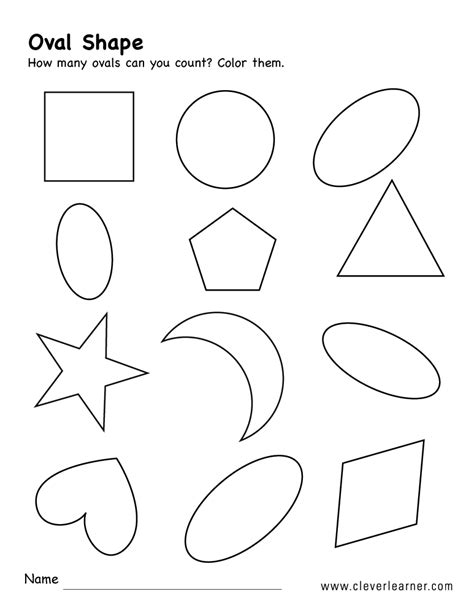 oval shape activity worksheets  preschool children