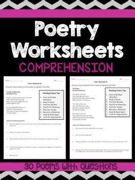 poetry comprehension worksheets  rigorous resources