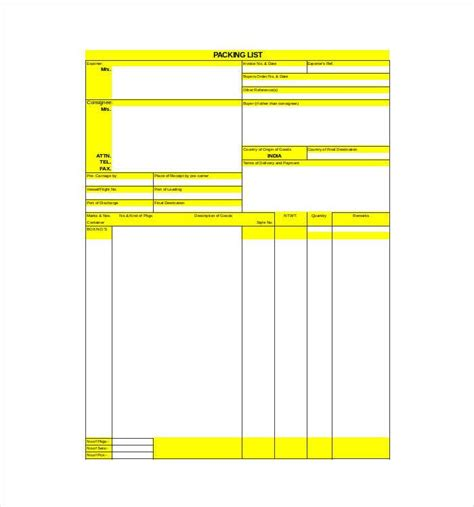 packing list template excel 24 packing list templates pdf doc excel free premium templates