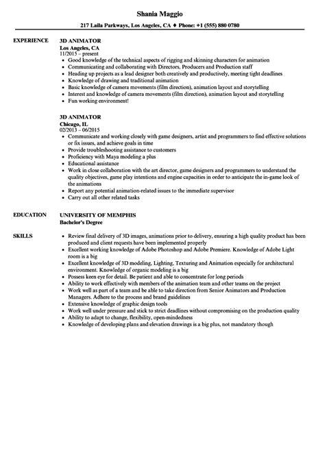 3d Animator Resume animation resume exles vvengelbert nl