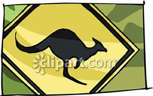 A Kangaroo Crossing Road Sign - Royalty Free Clipart Picture
