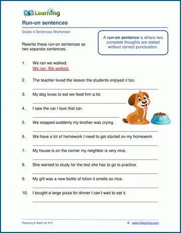 run  sentences worksheets  learning