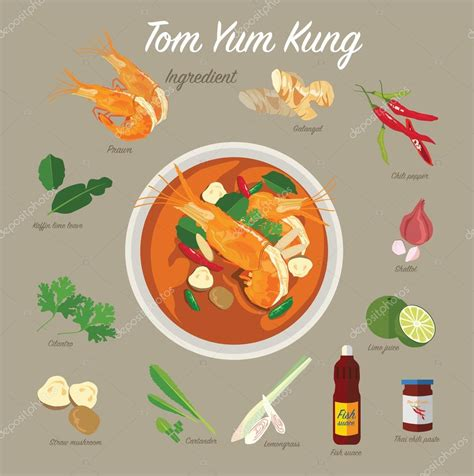 cuisine yum yum tom yum kung food stock vector sajja 86721716