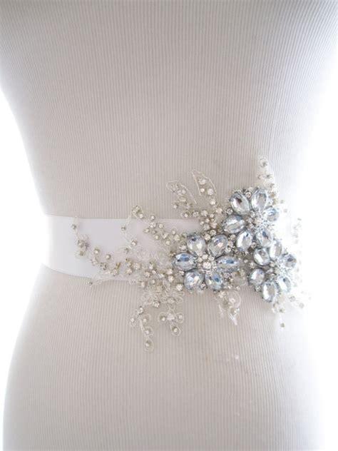 amazing rhinestone beaded lace applique bridal sash