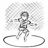 Trampoline Coloring Jumping Riccio Child Curly Springt Gelocktes Kind Eine Illustrations Vectors Clipart Bambino Illustrazioni Trampolino Salta Che sketch template