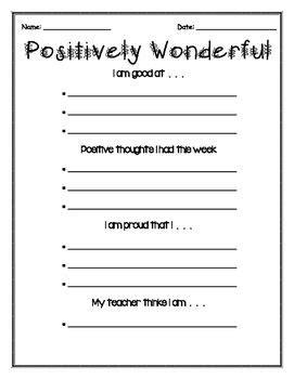 Self Esteem Positive Thinking Worksheets  1st Grade  Pinterest  Positive Self Esteem, Self