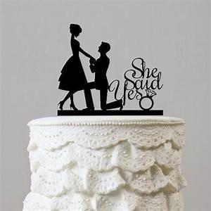 Engagement Wedding Cake Topper (Romantic Proposing