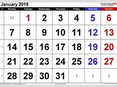 Calendar January 2019 UK, Bank Holidays, ExcelPDFWord