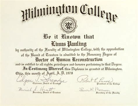 wilmington college diploma honorary doctor  human