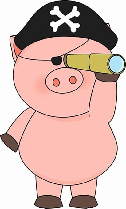 Pig Pirate Telescope Clip Looking Through Graphics