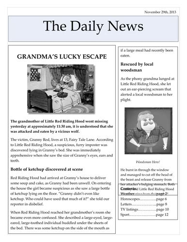 Newspaper Reports | Teaching Resources