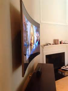 Samsung Curved TV Mounted On Wall
