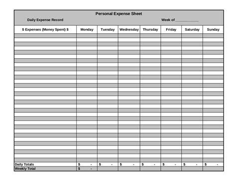 9 expense sheet exles pdf exles