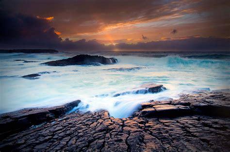 Hd Sunset Sea Ocean Beach Waves Hd 1080p Wallpaper