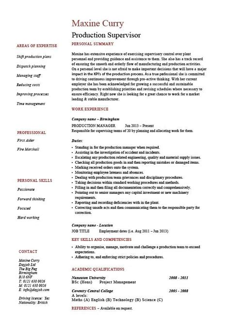Production Supervisor Resume by Production Supervisor Resume Sle Exle Template