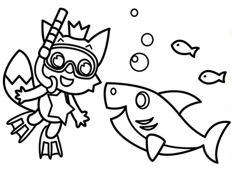 Pinkfong and Baby Shark Coloring Page Free Printable
