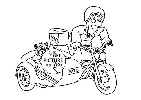 Postman Pat In Tricycle Coloring Pages For Kids, Printable