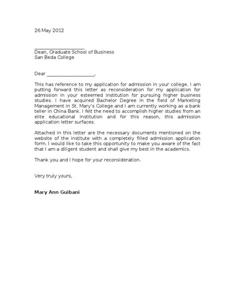 Cover Letter For Document Sle by Sle Reconsideration Letter Application Letters