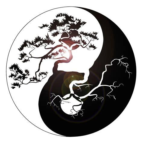 vinyl wall decal yin yang tree zen asian style stickers