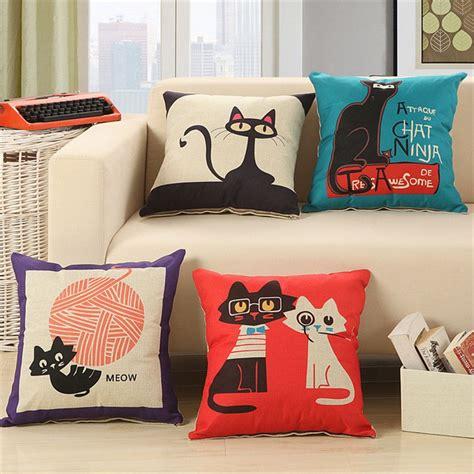 cartoon cat priented cotton linen sofa cushion embrace pillow xcmx throw pillow