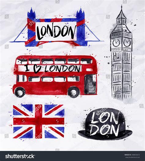 london signs big ben flag bus stock vector