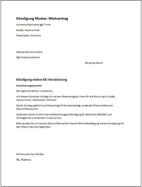 mietvertrag kuendigung vorlage schweiz kuendigung vorlage