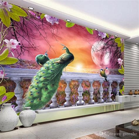 peacock bedroom decor gorgeous peacock wallpaper personalized custom 3d photo 12811