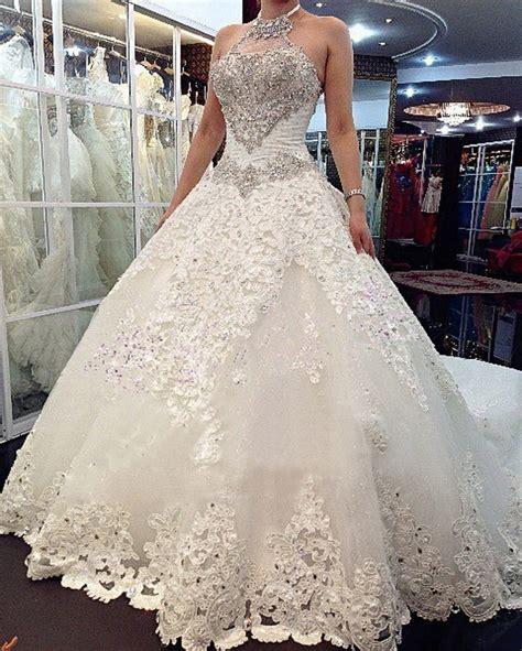 Luxury Shiny Crystal Cathedral/Royal Train Wedding Dress 2016 Vestido De Noiva Halter Neck