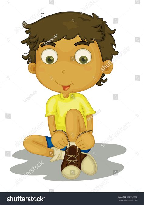 boy putting on shoes clipart illustration boy putting shoes on eps stock illustration
