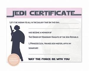 instant download star wars jedi certificate princess leia With star wars jedi certificate template free