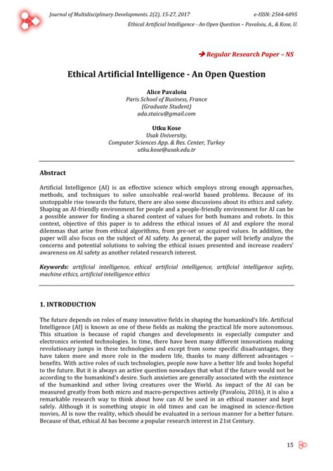 (PDF) Ethical Artificial Intelligence - An Open Question