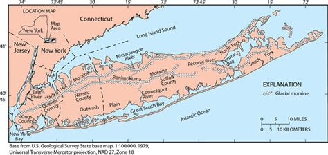 location map  long island   generalized glacial