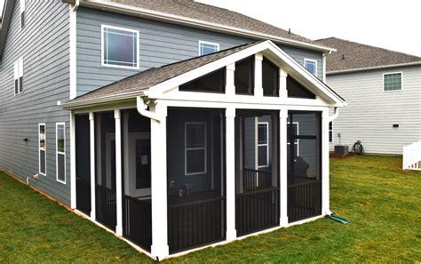 mooresville screen porch  tile floor cedar beam