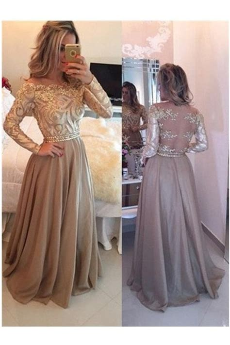 A Line Cowl Gold Long Prom Dresseslong Sleeves Evening