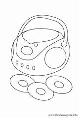 Cd Player Outline Coloring Flashcard sketch template