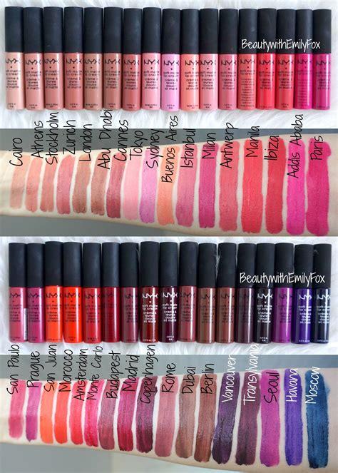 nyx lip colors all 34 shades of the nyx soft matte lip